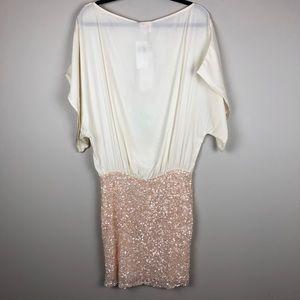 Parker Dresses - Parker Cream Silk Batwing Dress Gold Sequin Skirt